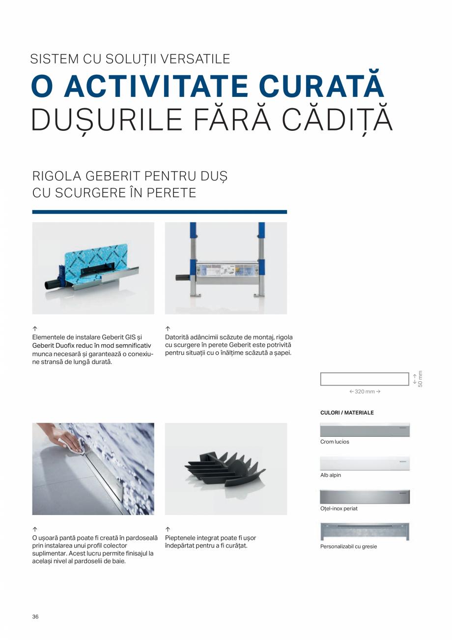 Pagina 36 - Geberit -Sisteme de instalare GEBERIT Kombifix, Duofix, DuoFresh, Monolith, AquaClean...