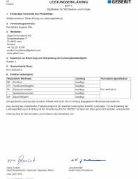 Declaratie de performanta pentru rezervoare de spalare cu apa pentru WC-uri si pisoare