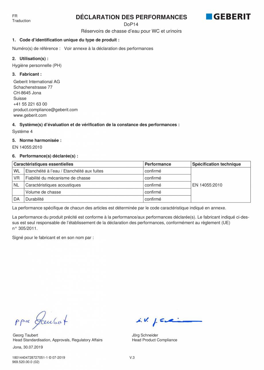 Pagina 3 - Declaratie de performanta pentru rezervoare de spalare cu apa pentru WC-uri si pisoare...
