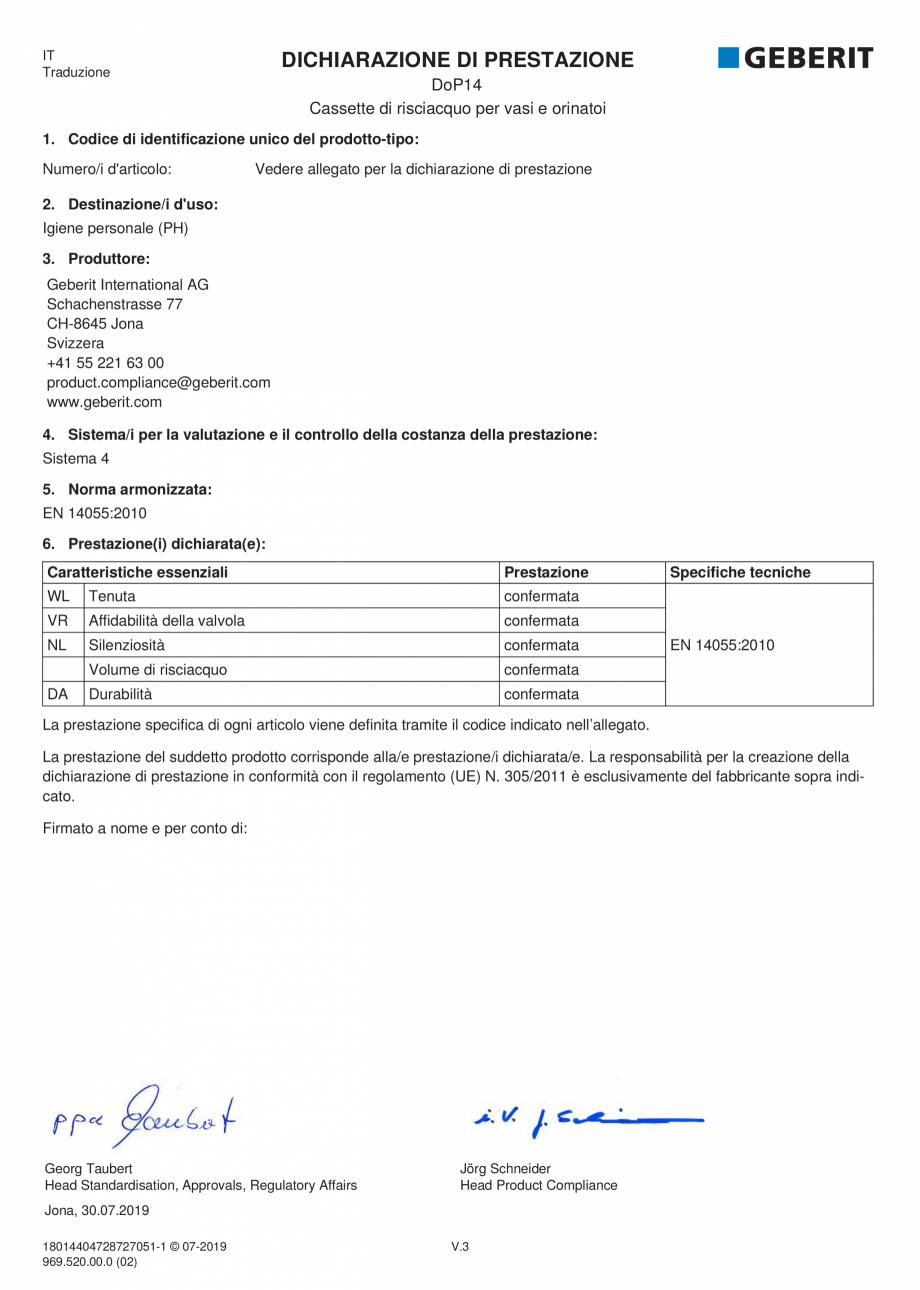 Pagina 4 - Declaratie de performanta pentru rezervoare de spalare cu apa pentru WC-uri si pisoare...