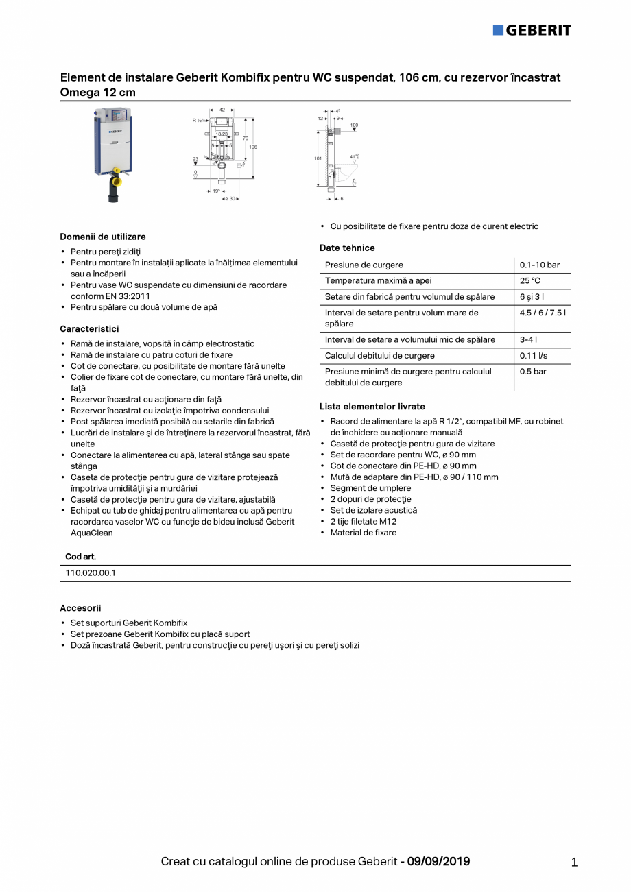 Pagina 1 - Element de instalare Geberit Kombifix pentru WC suspendat, 106 cm, cu rezervor incastrat ...