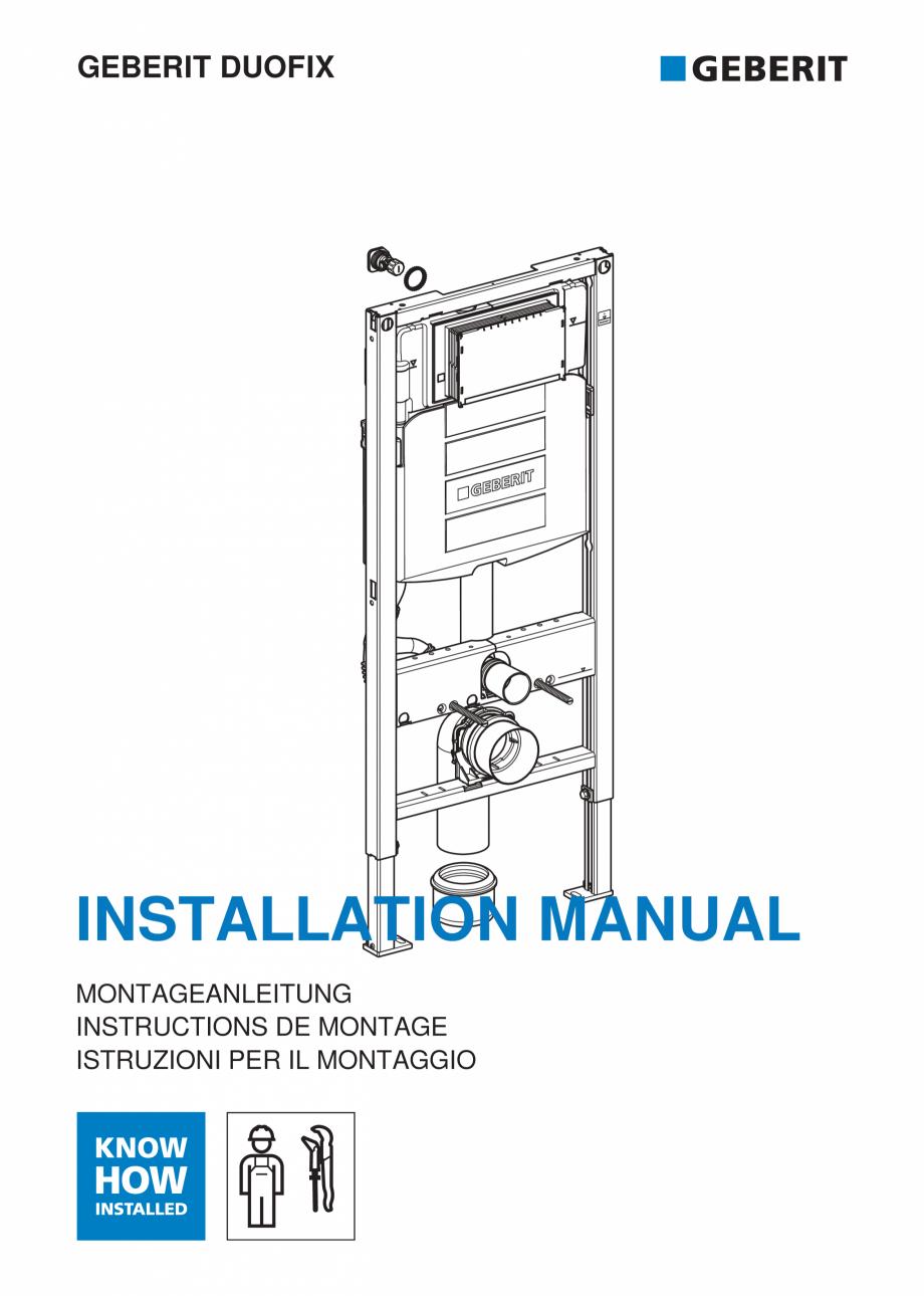 Pagina 1 - Instructiuni de instalare pentru elementul Geberit Duofix pentru WC suspendat GEBERIT...