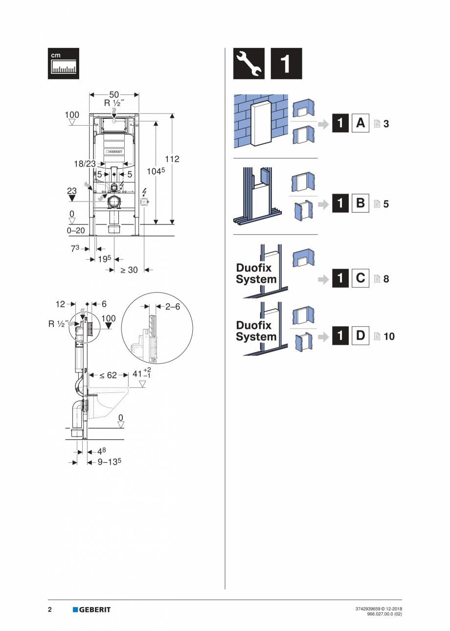 Pagina 2 - Instructiuni de instalare pentru elementul Geberit Duofix pentru WC suspendat GEBERIT...