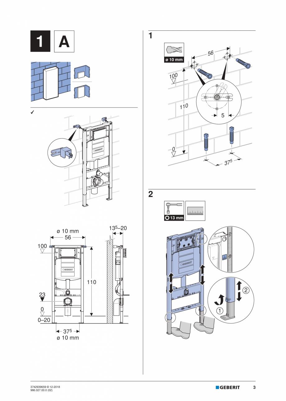 Pagina 3 - Instructiuni de instalare pentru elementul Geberit Duofix pentru WC suspendat GEBERIT...