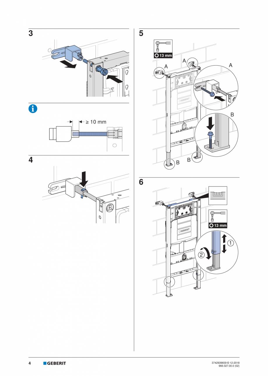 Pagina 4 - Instructiuni de instalare pentru elementul Geberit Duofix pentru WC suspendat GEBERIT...