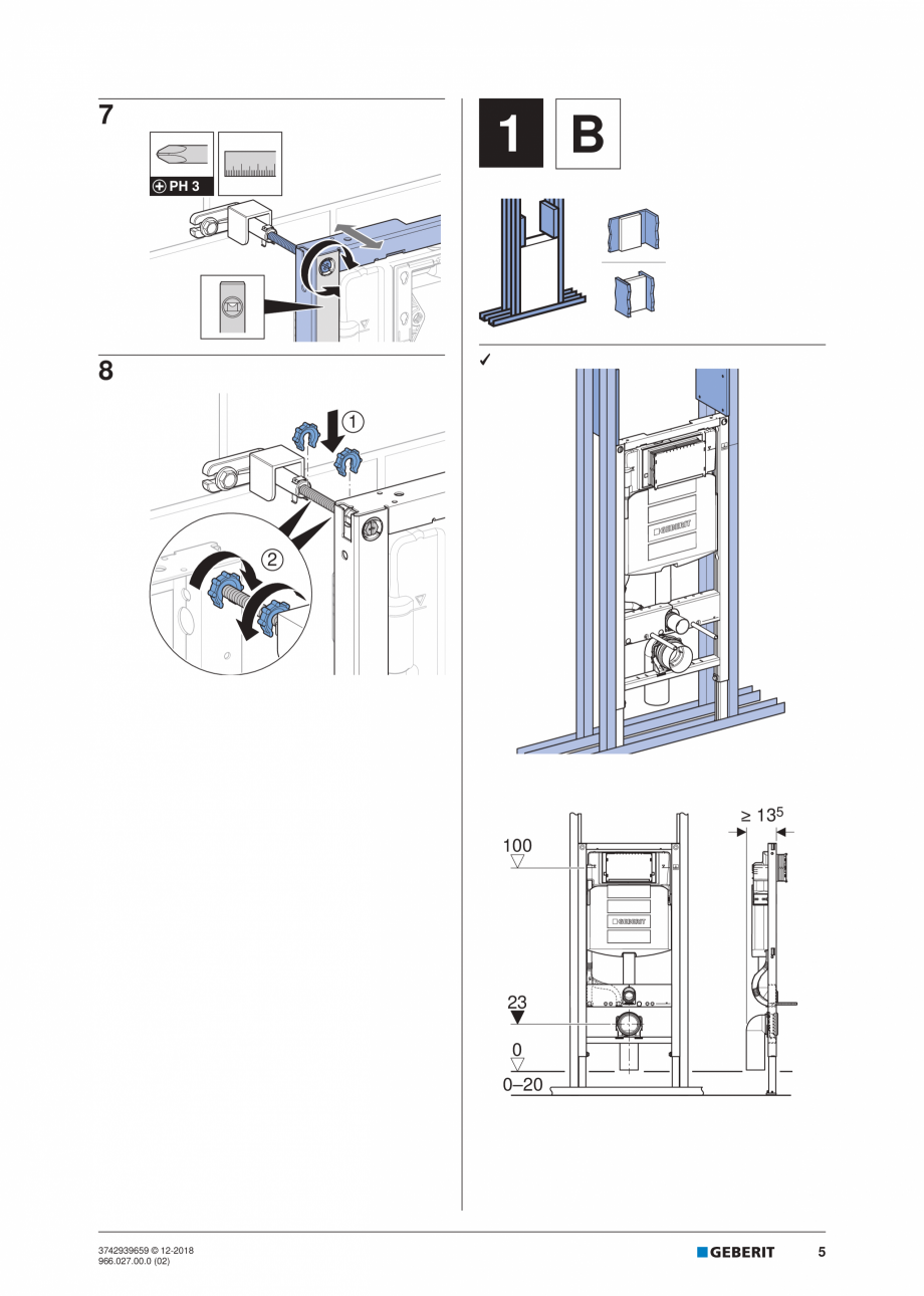 Pagina 5 - Instructiuni de instalare pentru elementul Geberit Duofix pentru WC suspendat GEBERIT...