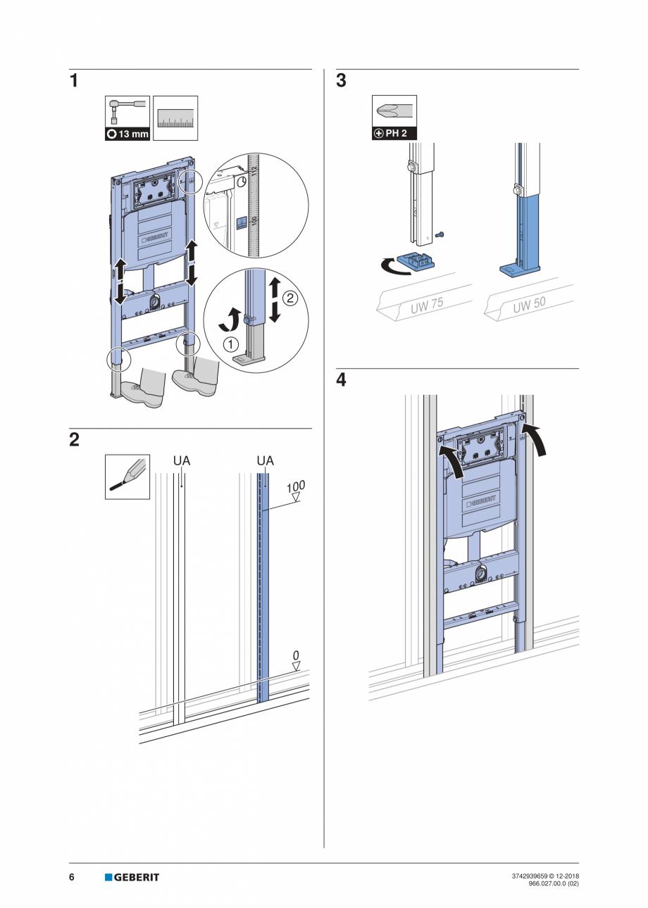 Pagina 6 - Instructiuni de instalare pentru elementul Geberit Duofix pentru WC suspendat GEBERIT...