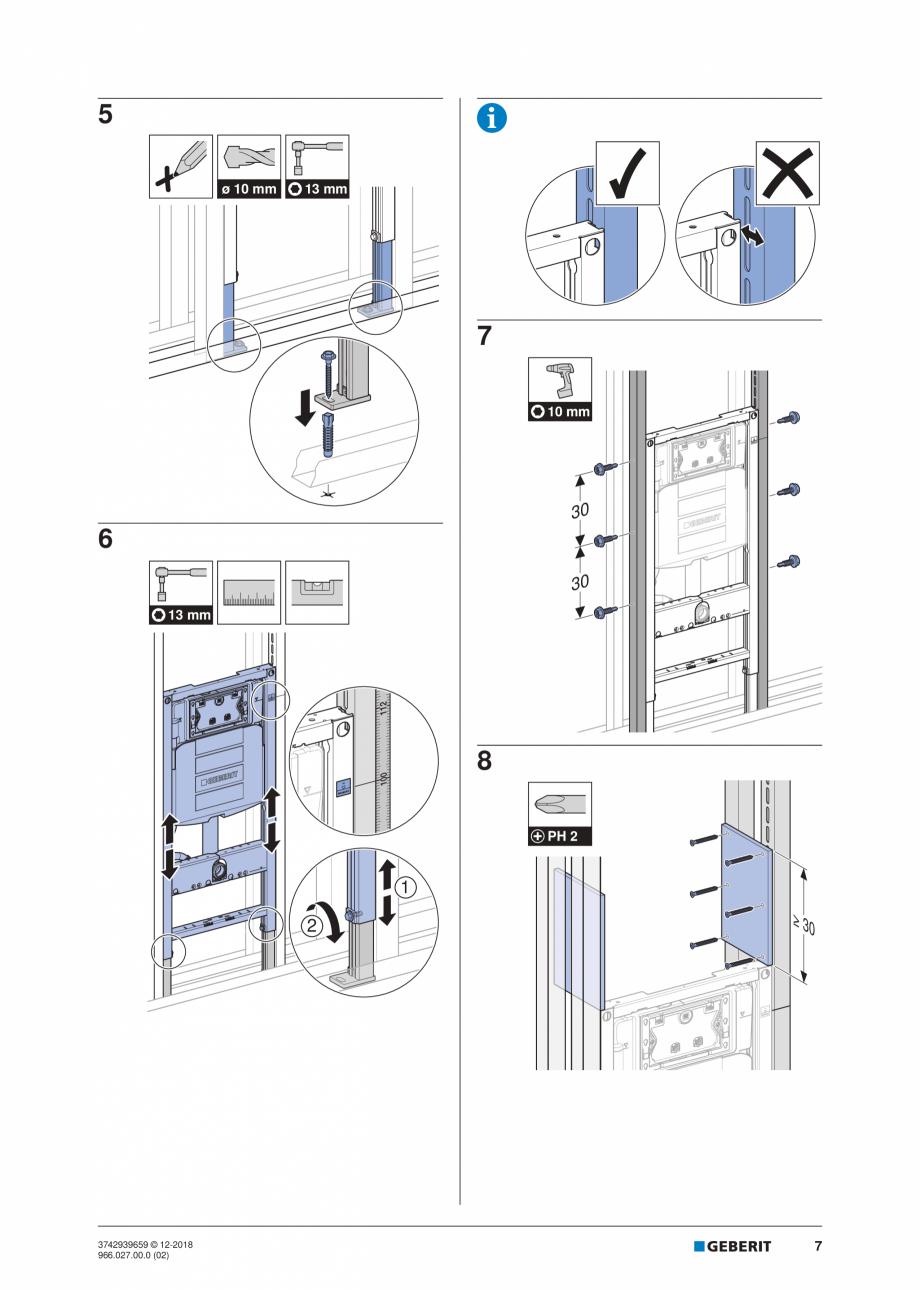 Pagina 7 - Instructiuni de instalare pentru elementul Geberit Duofix pentru WC suspendat GEBERIT...