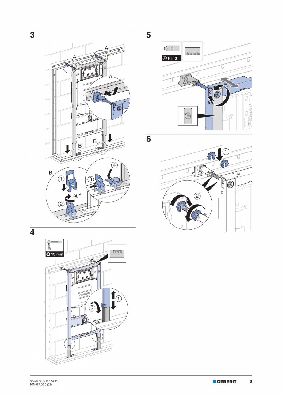 Pagina 9 - Instructiuni de instalare pentru elementul Geberit Duofix pentru WC suspendat GEBERIT...