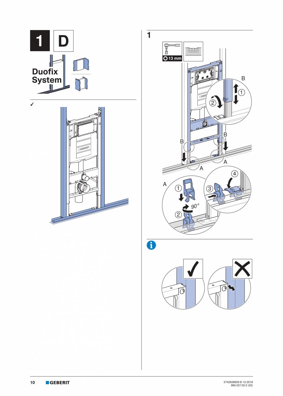 Pagina 10 - Instructiuni de instalare pentru elementul Geberit Duofix pentru WC suspendat GEBERIT...
