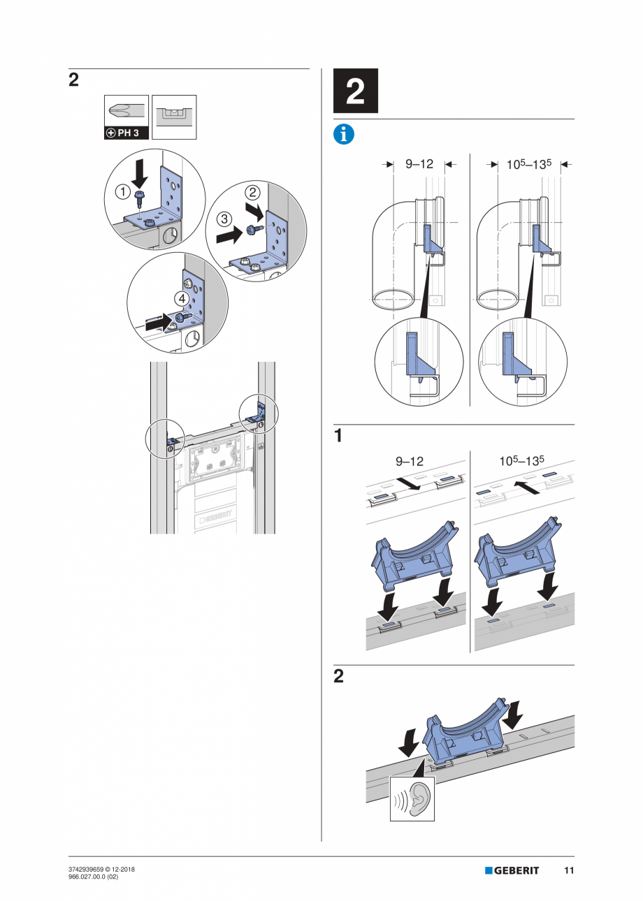 Pagina 11 - Instructiuni de instalare pentru elementul Geberit Duofix pentru WC suspendat GEBERIT...