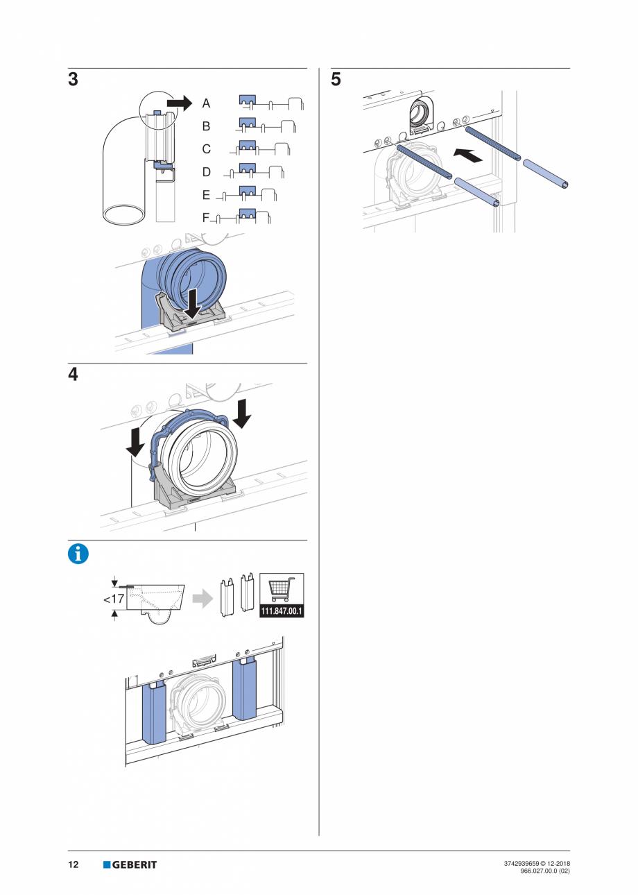 Pagina 12 - Instructiuni de instalare pentru elementul Geberit Duofix pentru WC suspendat GEBERIT...