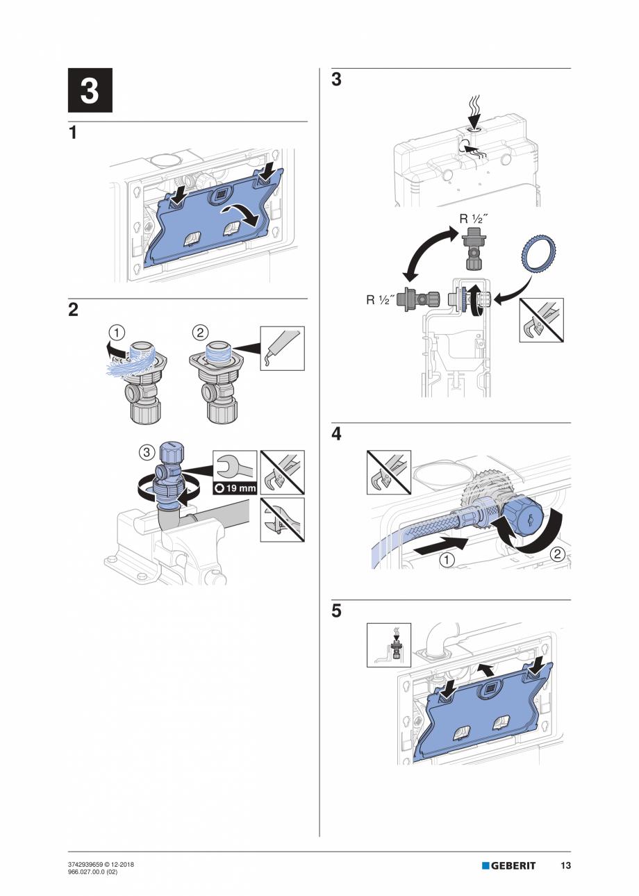 Pagina 13 - Instructiuni de instalare pentru elementul Geberit Duofix pentru WC suspendat GEBERIT...