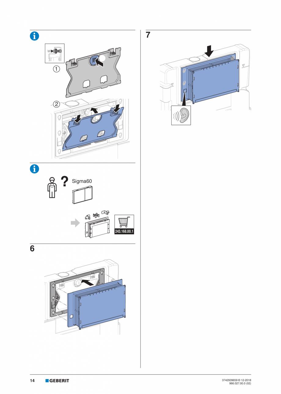 Pagina 14 - Instructiuni de instalare pentru elementul Geberit Duofix pentru WC suspendat GEBERIT...
