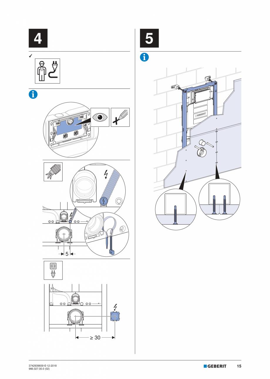 Pagina 15 - Instructiuni de instalare pentru elementul Geberit Duofix pentru WC suspendat GEBERIT...