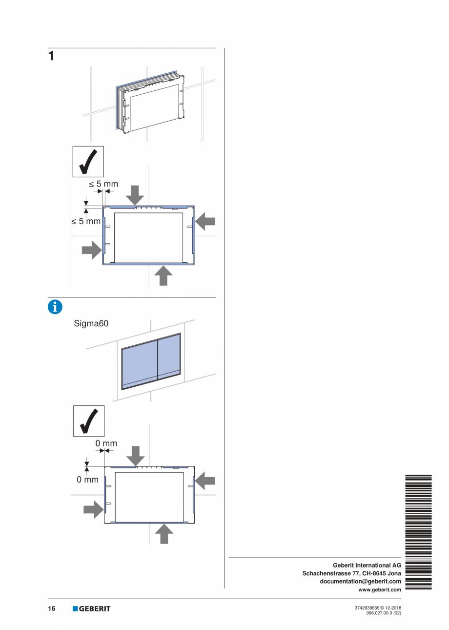Pagina 16 - Instructiuni de instalare pentru elementul Geberit Duofix pentru WC suspendat GEBERIT...