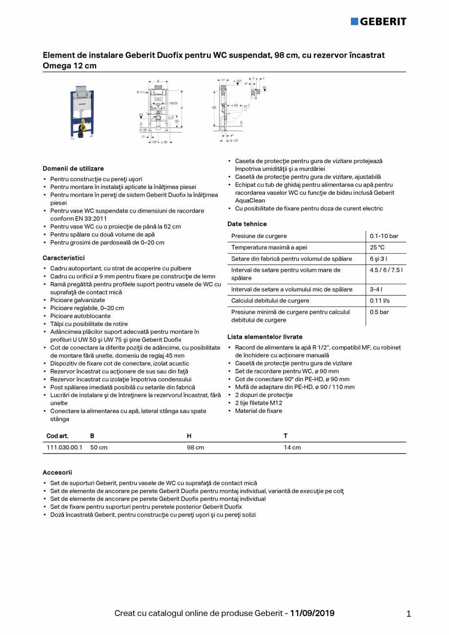 Pagina 1 - Element de instalare Geberit Duofix pentru WC suspendat, 98 cm, cu rezervor incastrat...