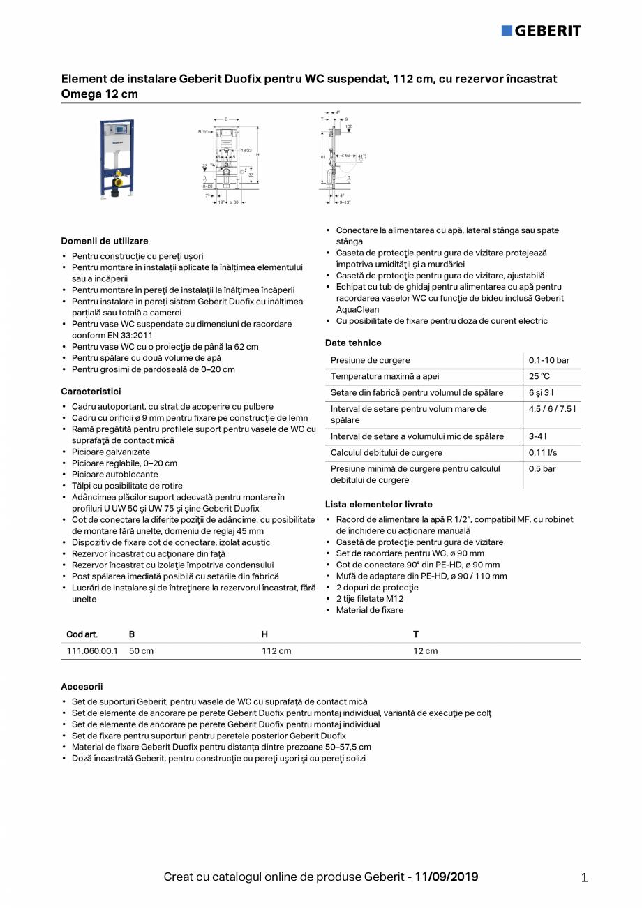 Pagina 1 - Element de instalare Geberit Duofix pentru WC suspendat, 112 cm, cu rezervor incastrat...