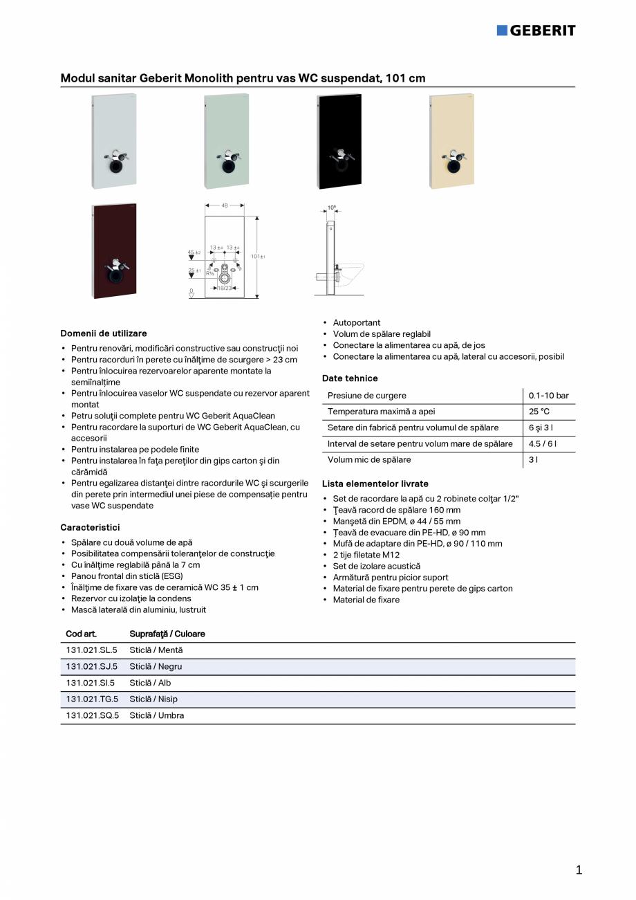 Pagina 1 - Modul sanitar Geberit Monolith pentru vas WC suspendat, 101 cm GEBERIT Monolith Fisa...