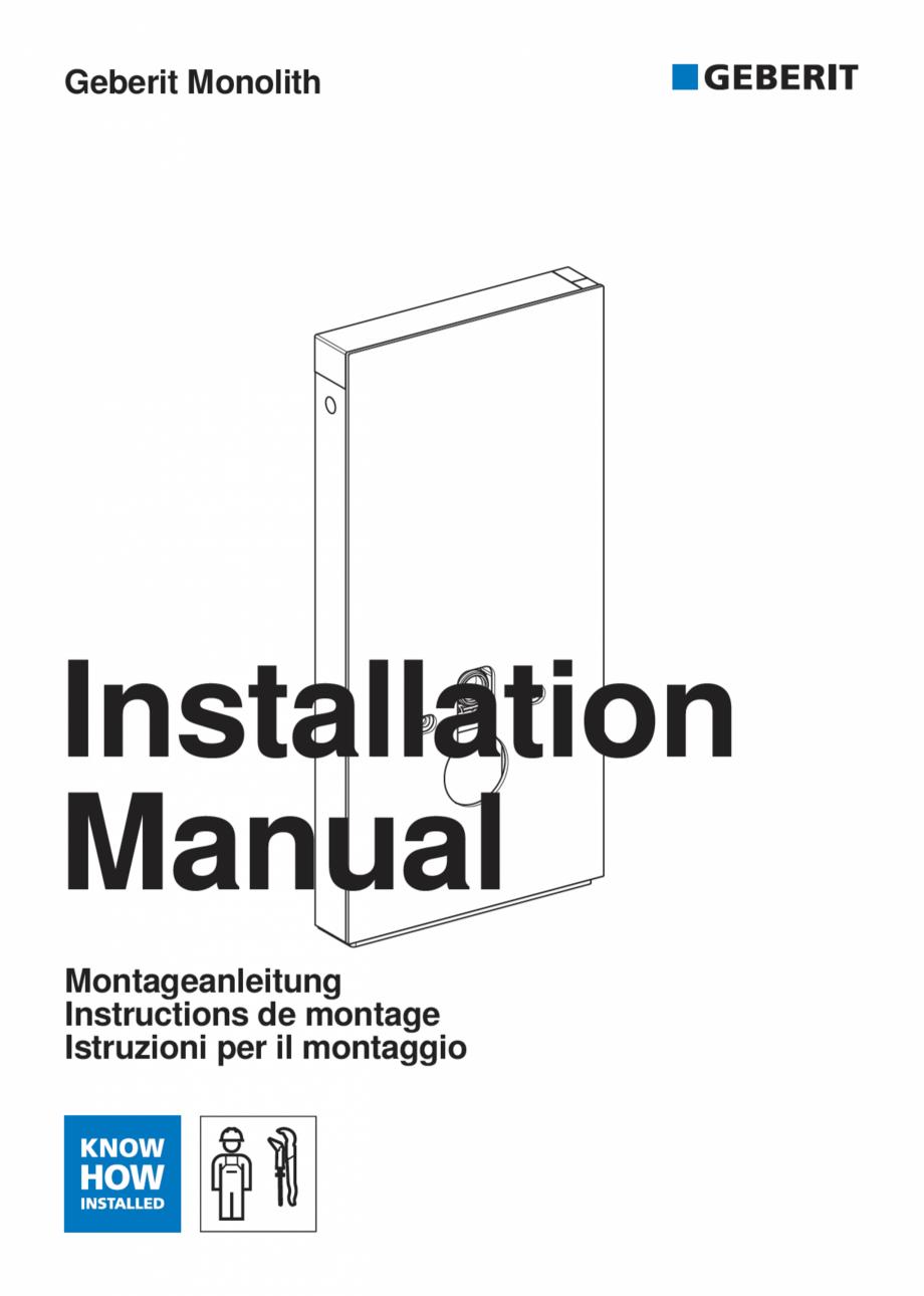 Pagina 1 - Manual de instalare pentru modulul sanitar GEBERIT Monolith Instructiuni montaj,...