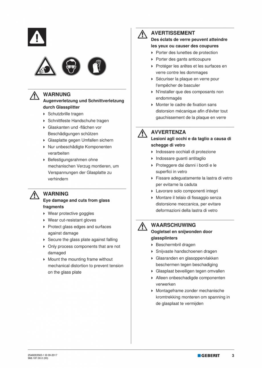 Pagina 3 - Manual de instalare pentru modulul sanitar GEBERIT Monolith Instructiuni montaj,...