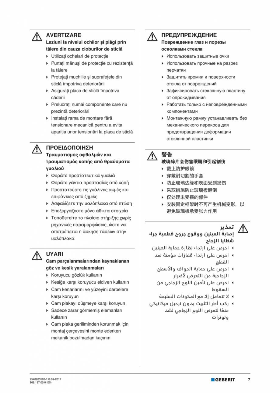 Pagina 7 - Manual de instalare pentru modulul sanitar GEBERIT Monolith Instructiuni montaj,...