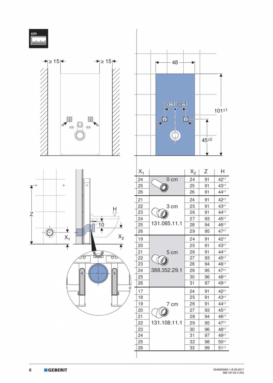 Pagina 8 - Manual de instalare pentru modulul sanitar GEBERIT Monolith Instructiuni montaj,...