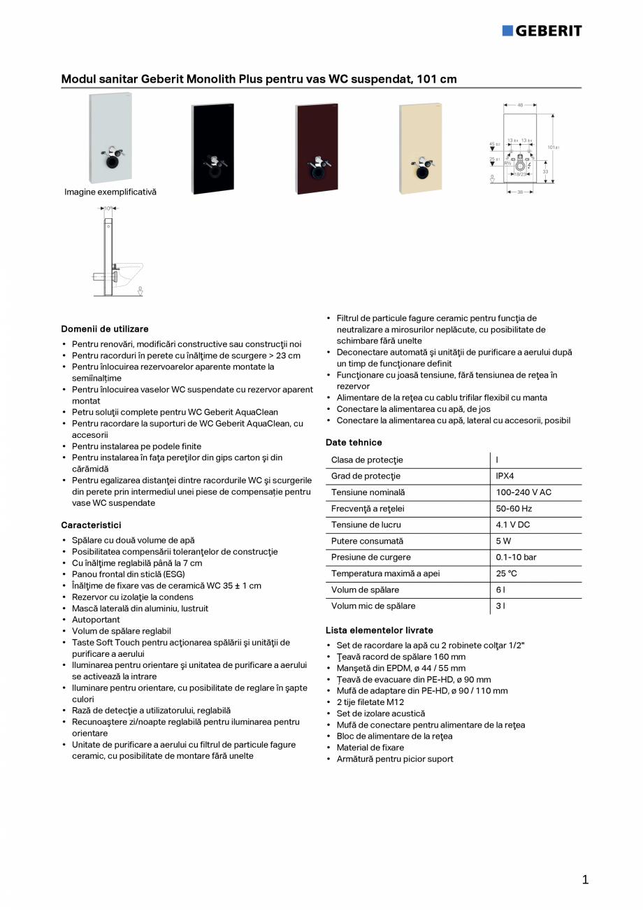 Pagina 1 - Modul sanitar Geberit Monolith Plus pentru vas WC suspendat,101 cm GEBERIT Fisa tehnica...
