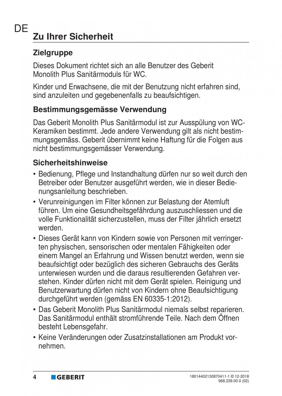 Pagina 4 - Manualul utilizatorului pentru modulul sanitar Monolith Plus GEBERIT Monolith...