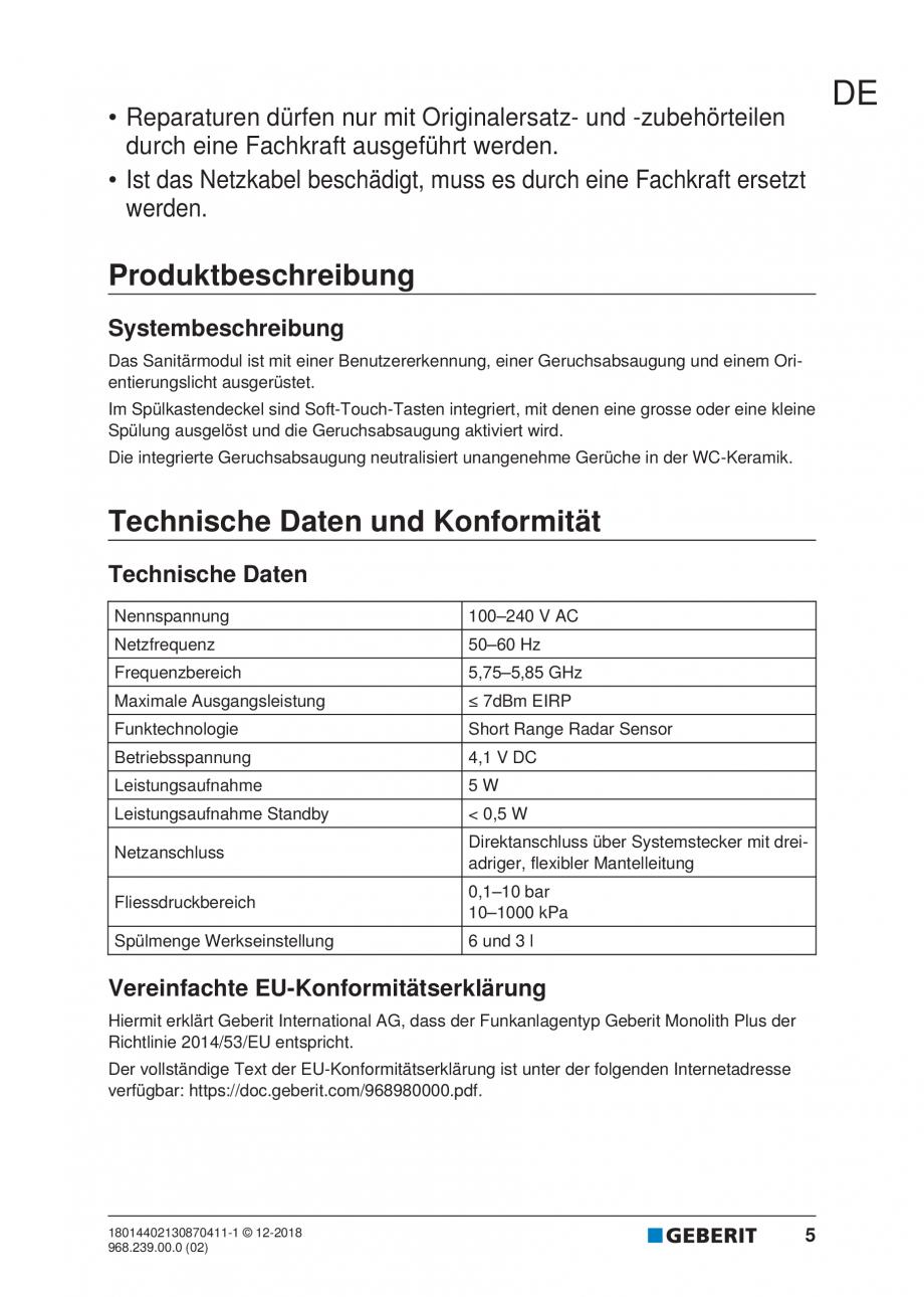 Pagina 5 - Manualul utilizatorului pentru modulul sanitar Monolith Plus GEBERIT Monolith...