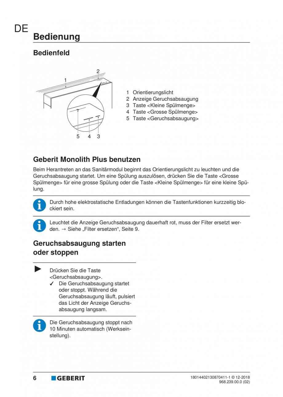 Pagina 6 - Manualul utilizatorului pentru modulul sanitar Monolith Plus GEBERIT Monolith...