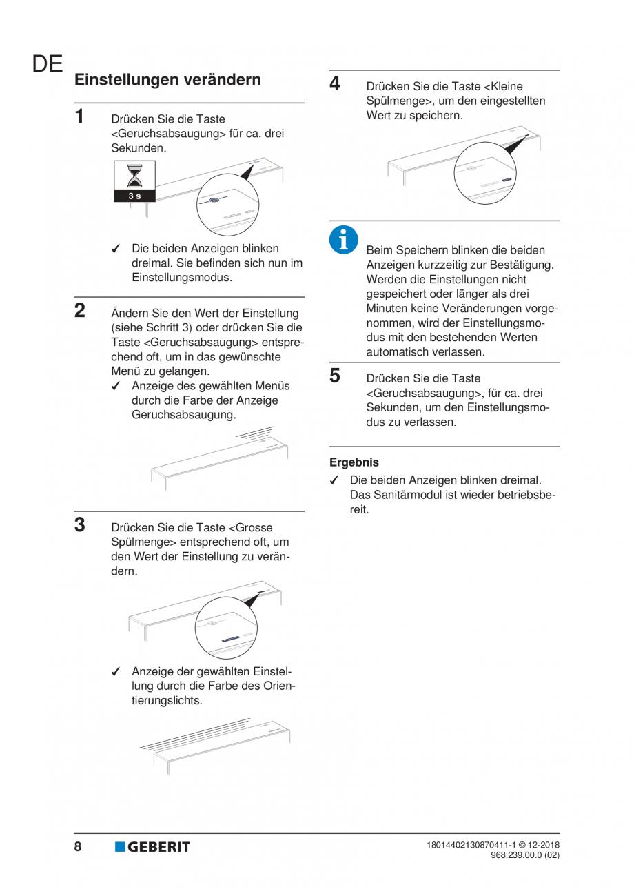 Pagina 8 - Manualul utilizatorului pentru modulul sanitar Monolith Plus GEBERIT Monolith...