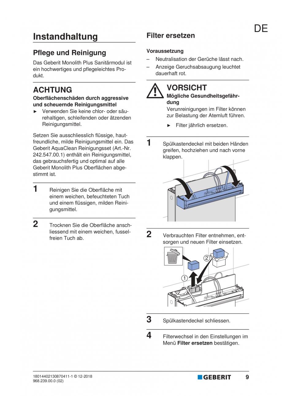 Pagina 9 - Manualul utilizatorului pentru modulul sanitar Monolith Plus GEBERIT Monolith...