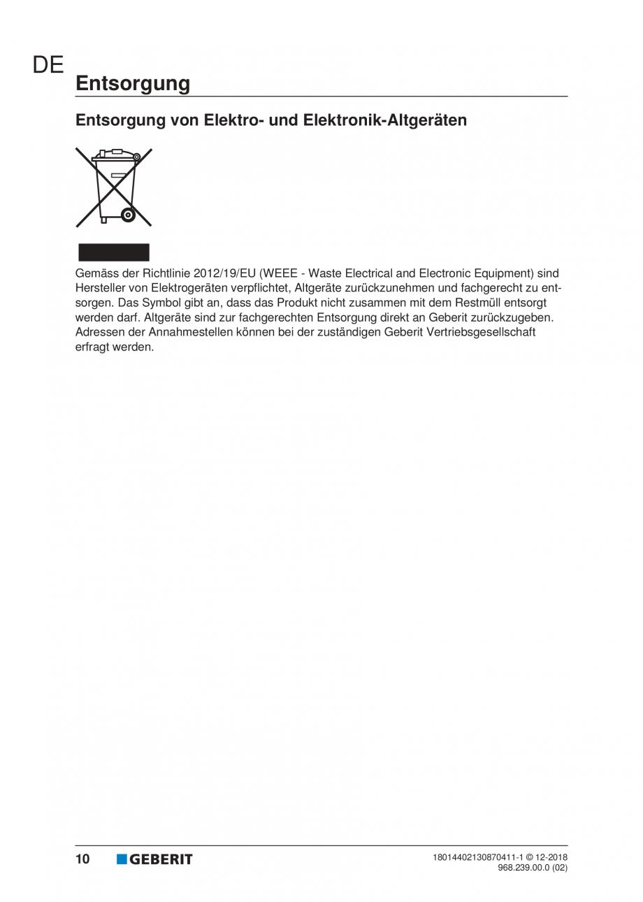 Pagina 10 - Manualul utilizatorului pentru modulul sanitar Monolith Plus GEBERIT Monolith...