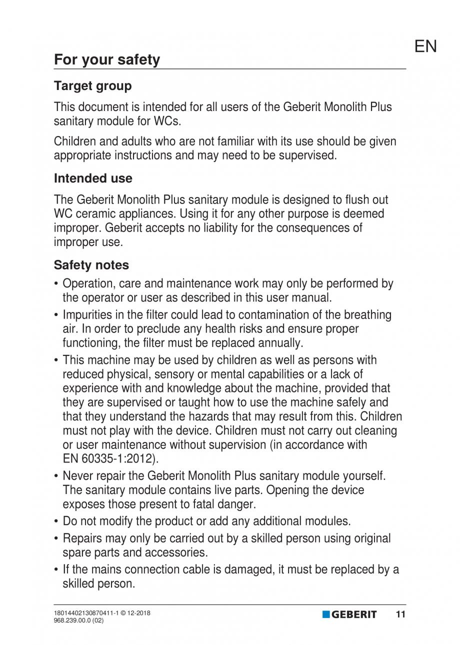 Pagina 11 - Manualul utilizatorului pentru modulul sanitar Monolith Plus GEBERIT Monolith...