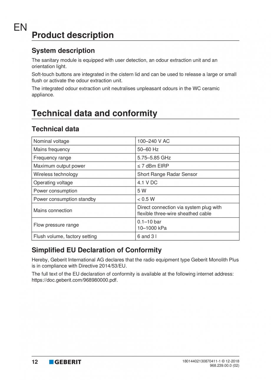 Pagina 12 - Manualul utilizatorului pentru modulul sanitar Monolith Plus GEBERIT Monolith...
