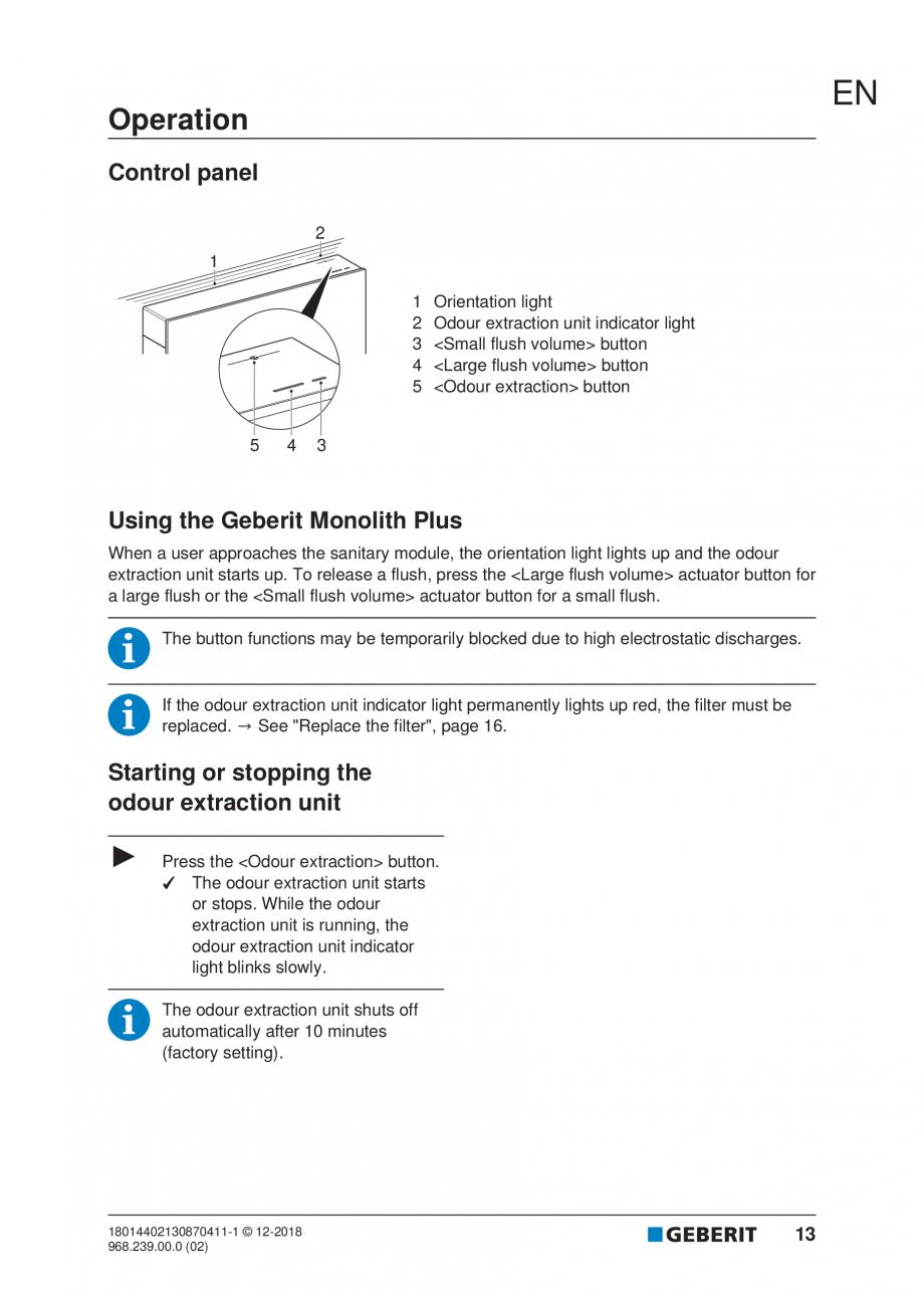 Pagina 13 - Manualul utilizatorului pentru modulul sanitar Monolith Plus GEBERIT Monolith...