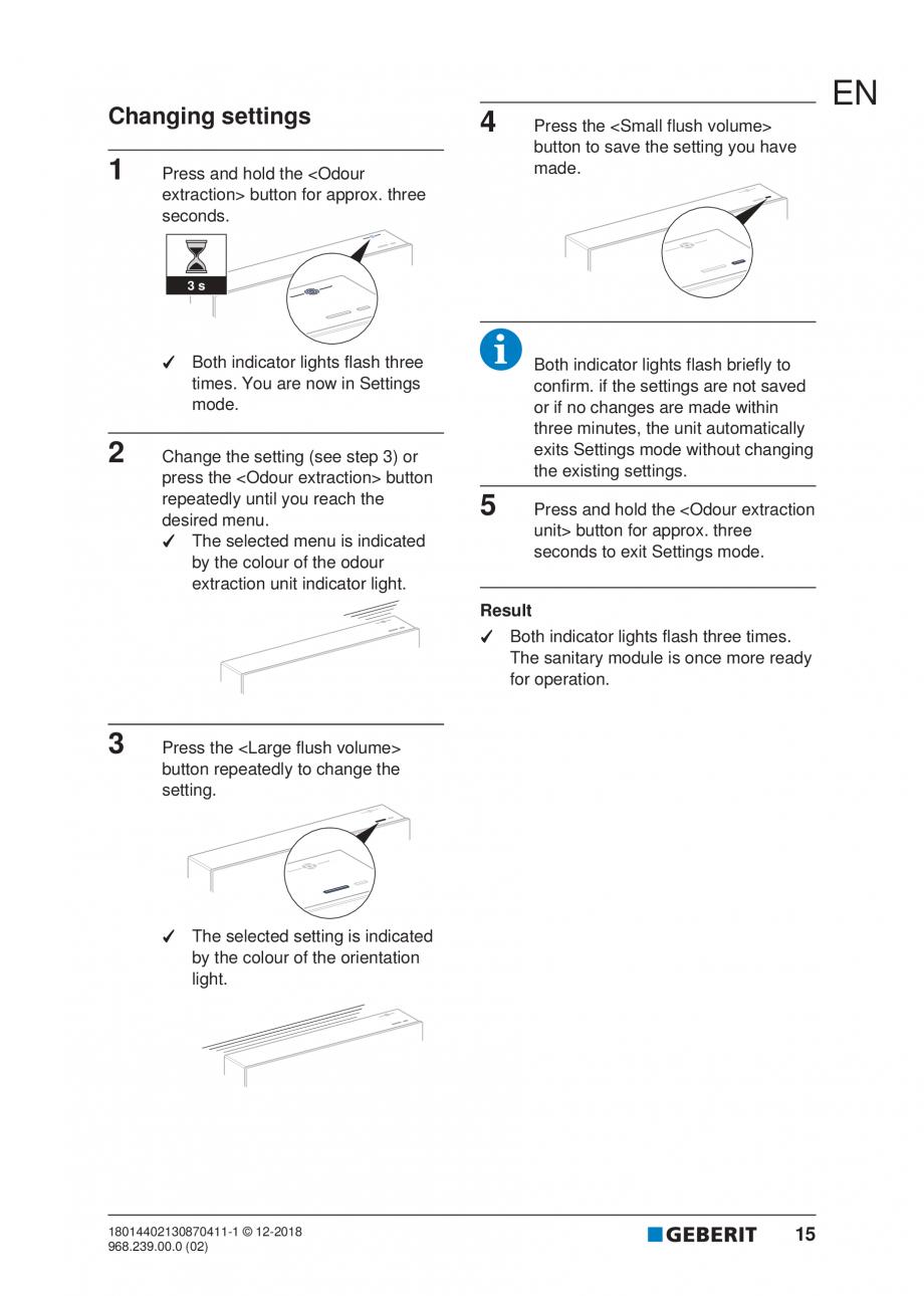 Pagina 15 - Manualul utilizatorului pentru modulul sanitar Monolith Plus GEBERIT Monolith...