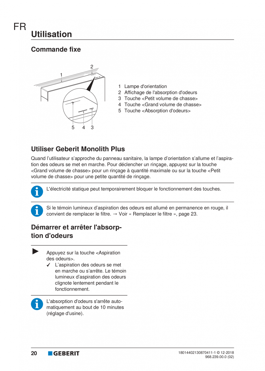 Pagina 16 - Manualul utilizatorului pentru modulul sanitar Monolith Plus GEBERIT Monolith...