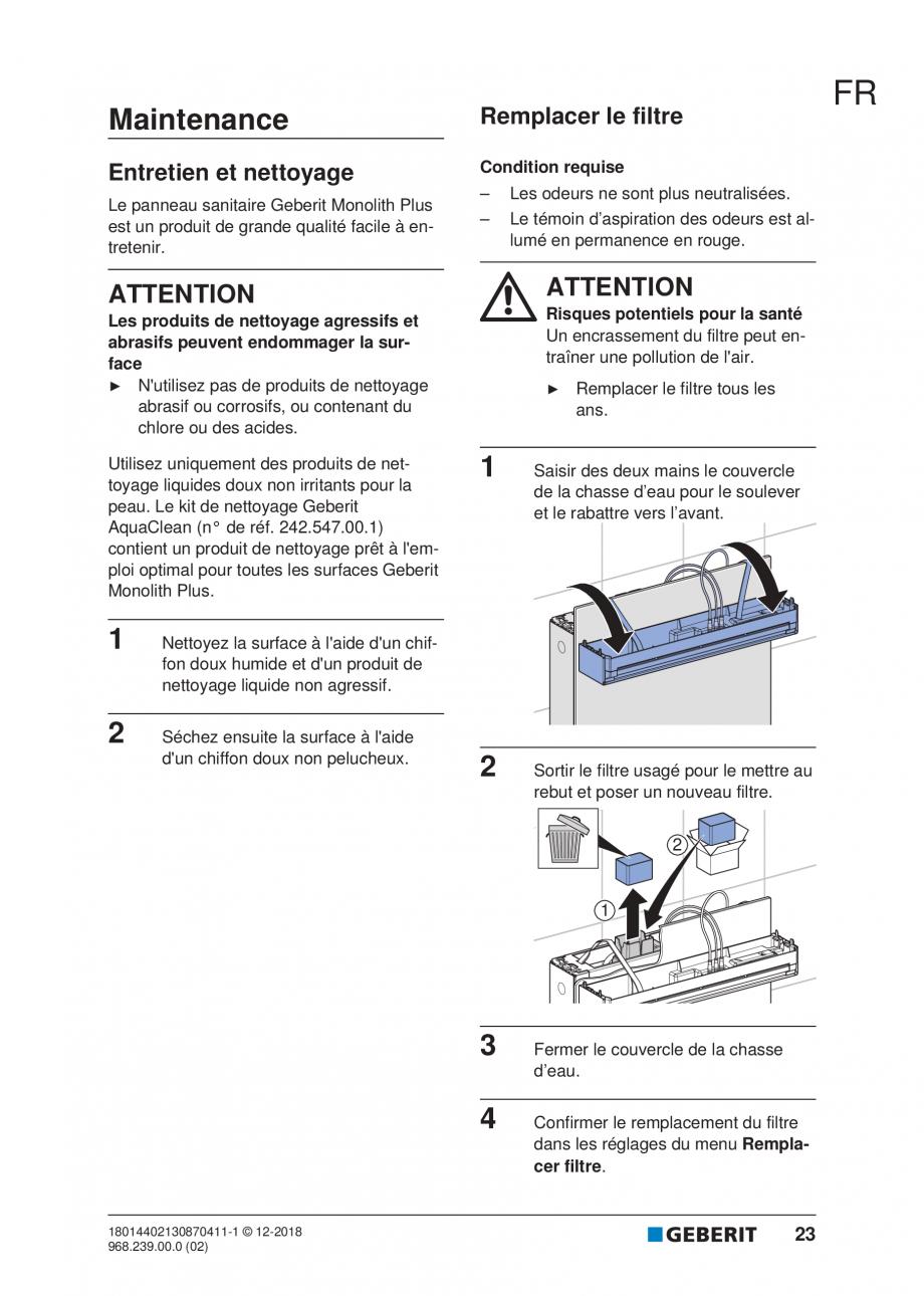 Pagina 19 - Manualul utilizatorului pentru modulul sanitar Monolith Plus GEBERIT Monolith...