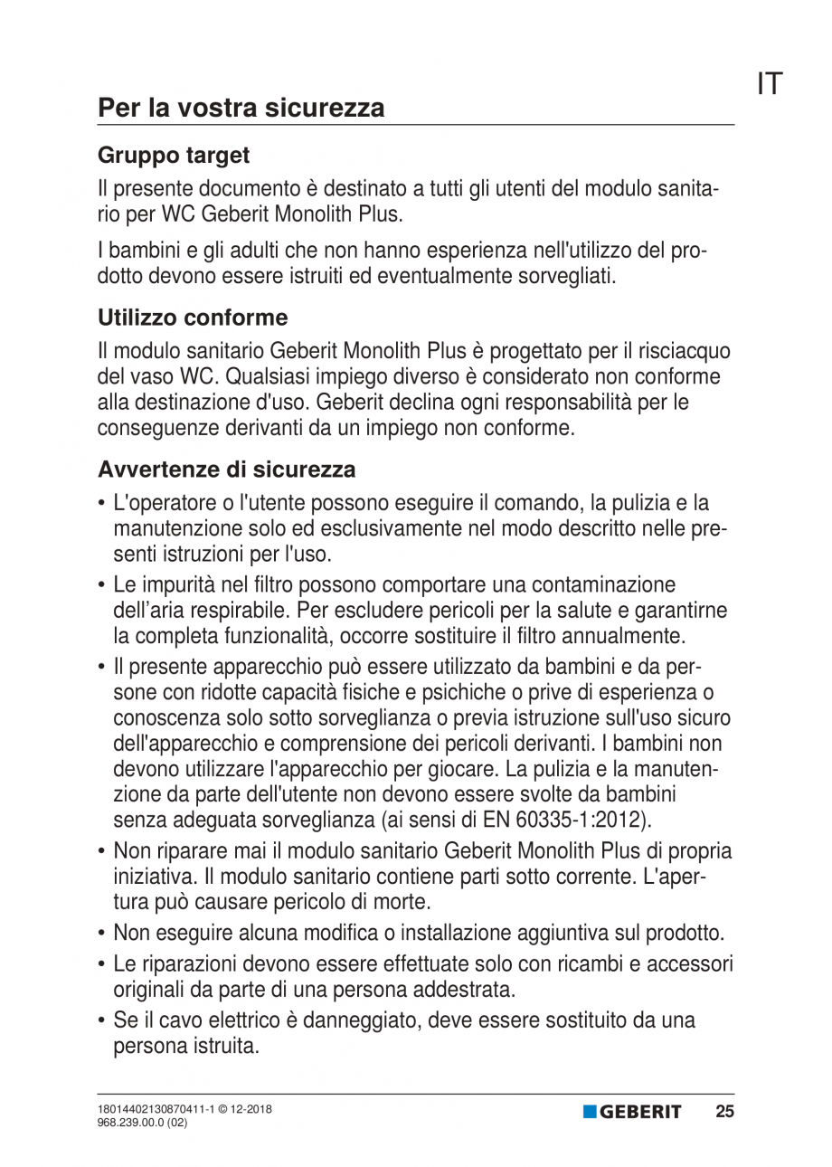 Pagina 21 - Manualul utilizatorului pentru modulul sanitar Monolith Plus GEBERIT Monolith...