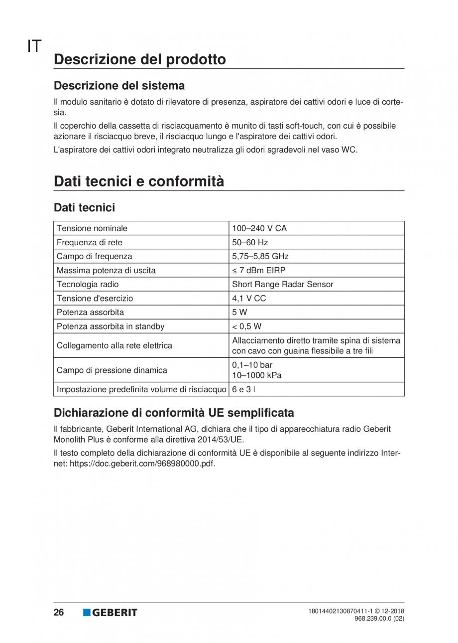 Pagina 22 - Manualul utilizatorului pentru modulul sanitar Monolith Plus GEBERIT Monolith...