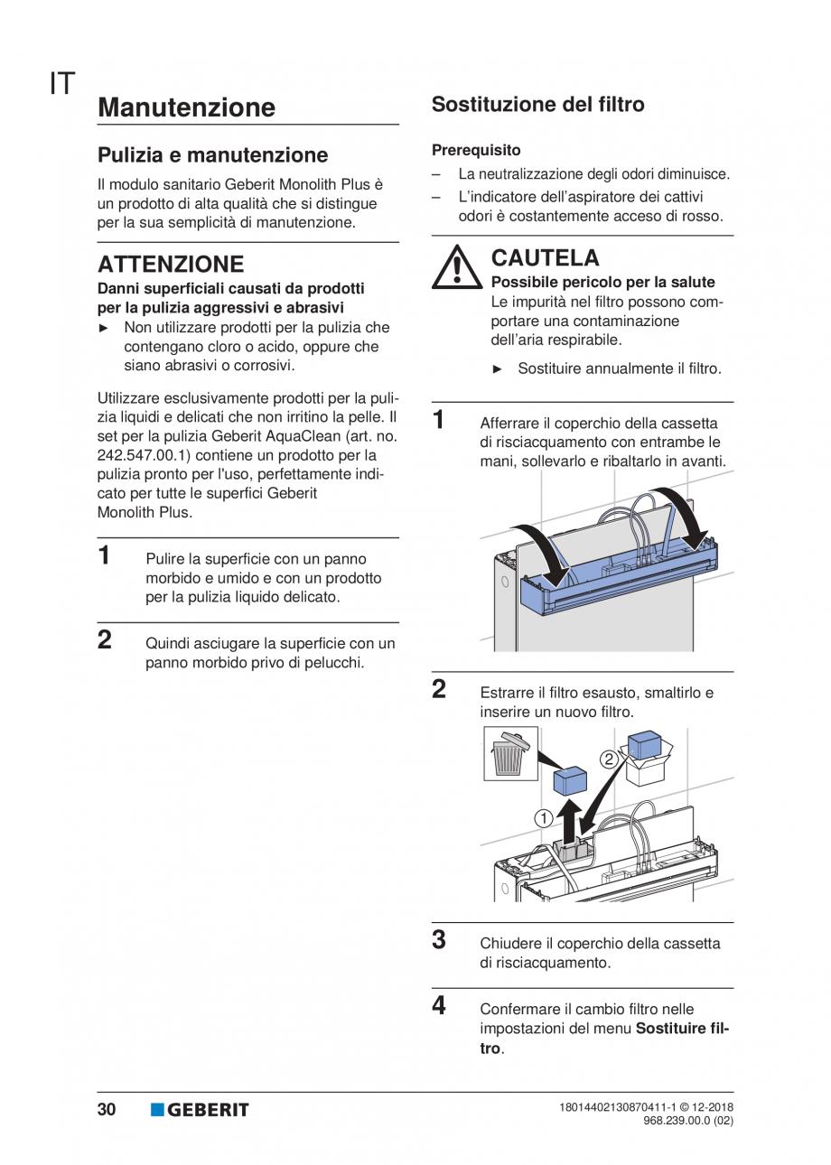 Pagina 26 - Manualul utilizatorului pentru modulul sanitar Monolith Plus GEBERIT Monolith...