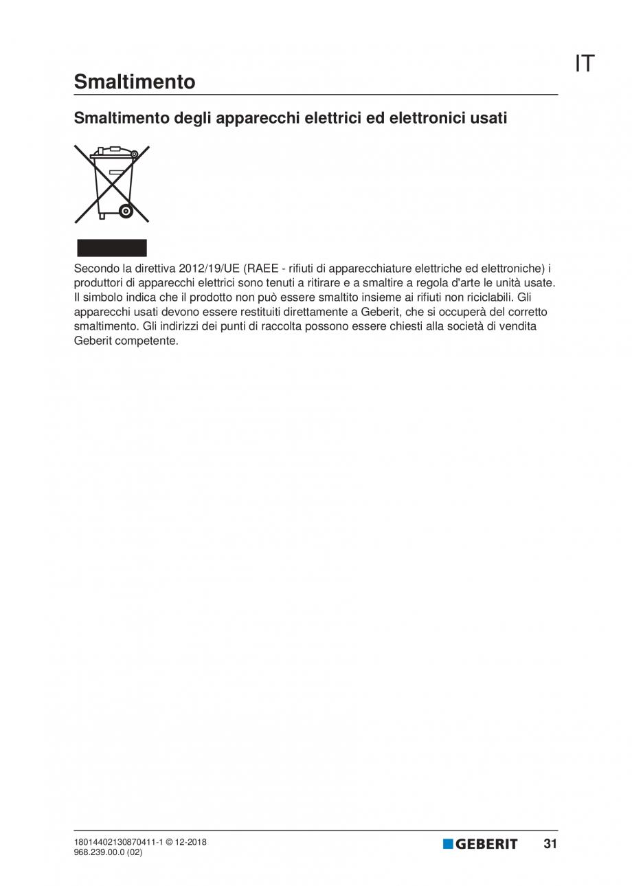Pagina 27 - Manualul utilizatorului pentru modulul sanitar Monolith Plus GEBERIT Monolith...