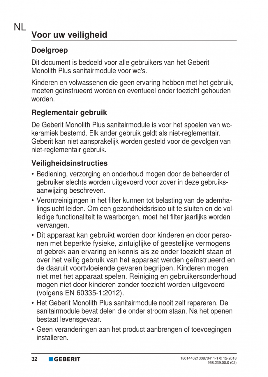 Pagina 28 - Manualul utilizatorului pentru modulul sanitar Monolith Plus GEBERIT Monolith...