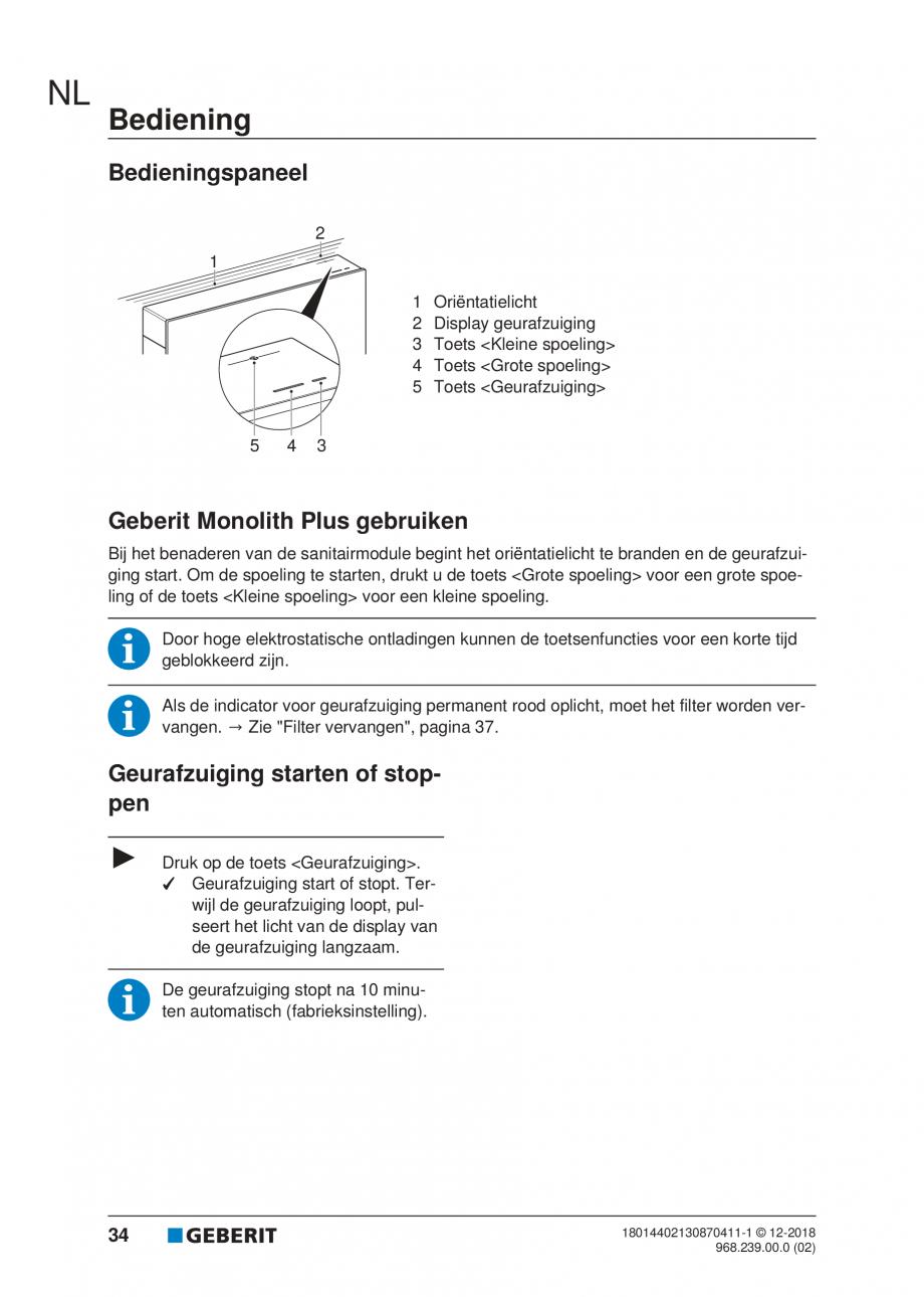 Pagina 30 - Manualul utilizatorului pentru modulul sanitar Monolith Plus GEBERIT Monolith...