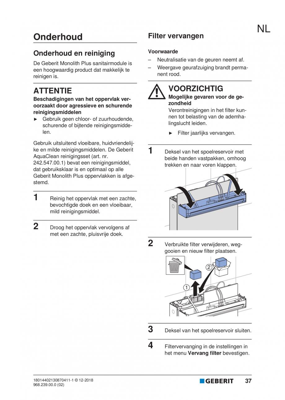 Pagina 33 - Manualul utilizatorului pentru modulul sanitar Monolith Plus GEBERIT Monolith...