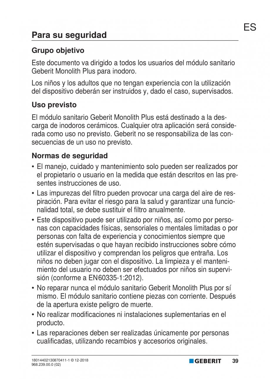 Pagina 35 - Manualul utilizatorului pentru modulul sanitar Monolith Plus GEBERIT Monolith...