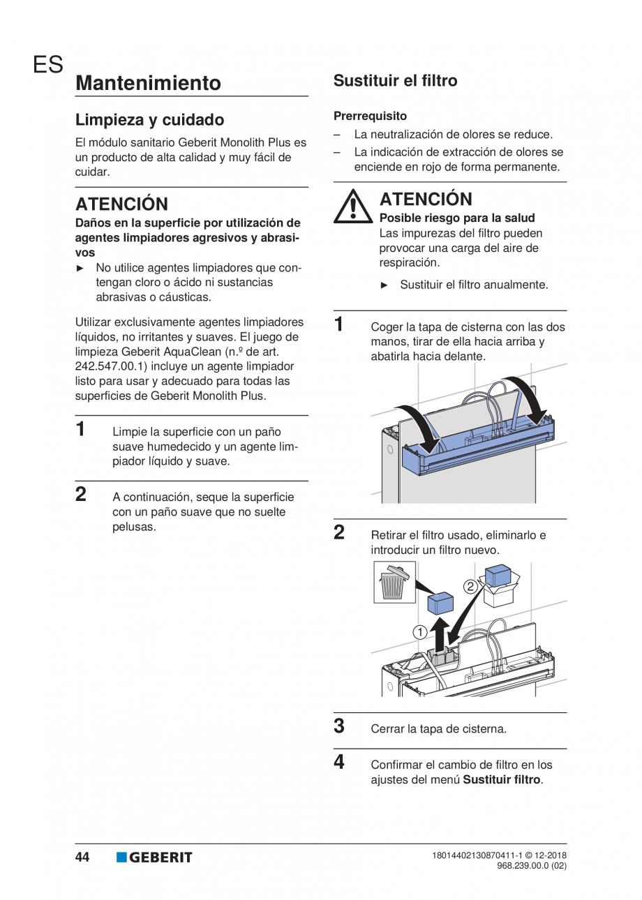 Pagina 40 - Manualul utilizatorului pentru modulul sanitar Monolith Plus GEBERIT Monolith...