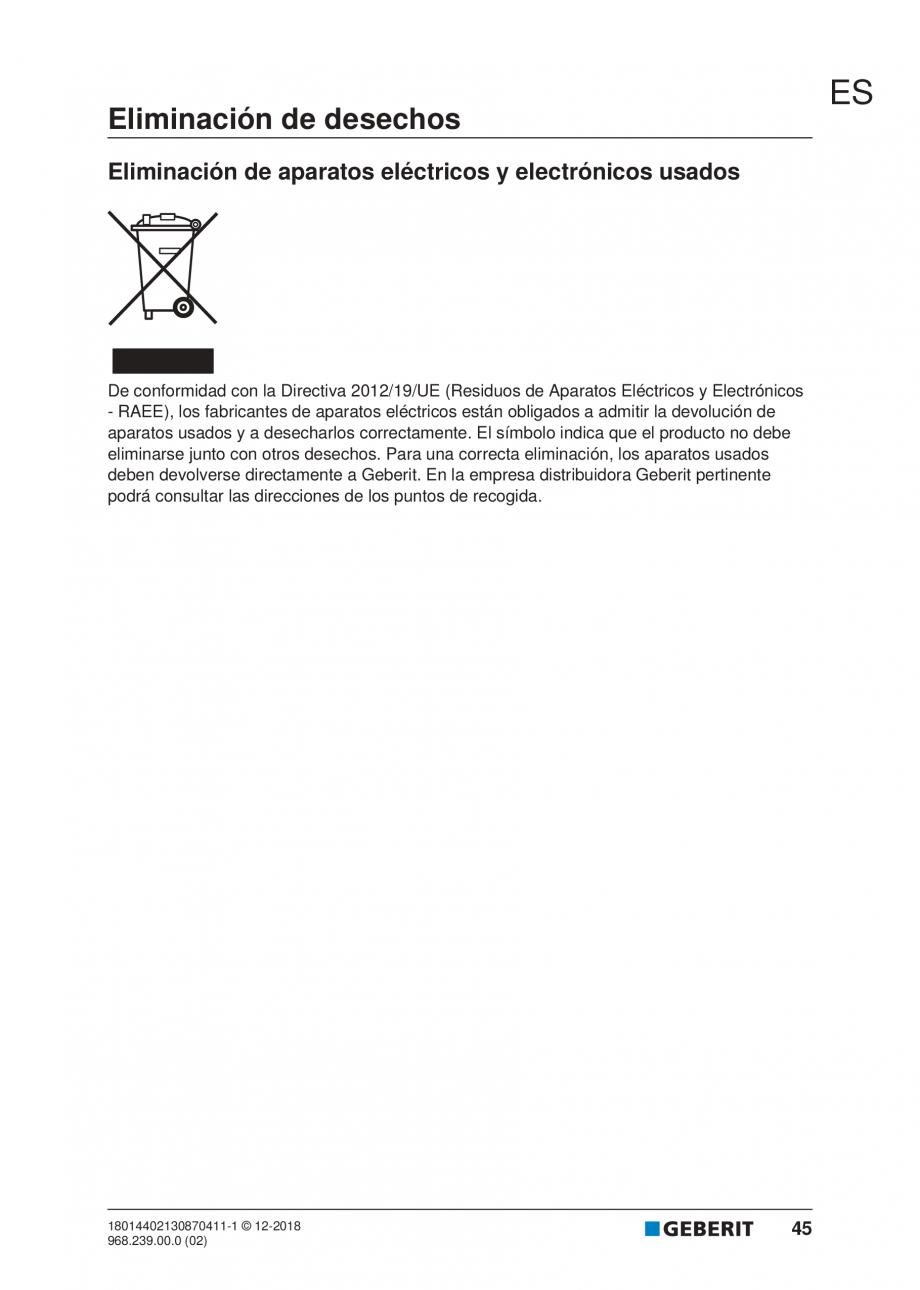 Pagina 41 - Manualul utilizatorului pentru modulul sanitar Monolith Plus GEBERIT Monolith...